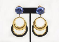 NEW RIVIERA BLACK LUCITE GOLD-PLATE & ACRYLIC BLUE DROP CLIP-ON EARRINGS