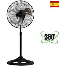 """Ventilador de pie metálico 360º 12"""" 65w aspas aluminio Garantía 2 Años"""