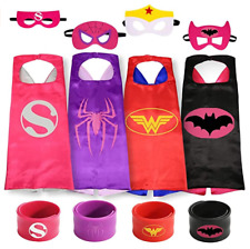 Superhero Cape and Mask for Kids - Girl Dress Up Costumes - 3pc Set