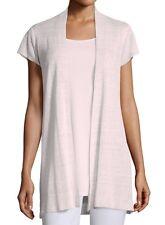 Eileen Fisher Opal Pink Sheer Hemp Rib Cap Sleeve Open Frnt Cardigan PL NWT $278