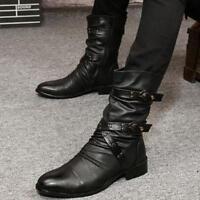 Vintage Gothic Rock Men Ankle Boots Punk Zipper Buckle Belt Pointy Toe Shoes New