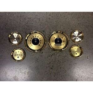 Gold Retro Guage Face Plate/ Trim Ring Set Speedometer Tach Oil Water Volt Turbo