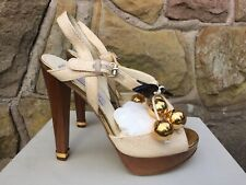 Stella McCartney Tatami Straw Sandal Heels - Brown/Gold - UK 3/EU 36 - RRP £300+