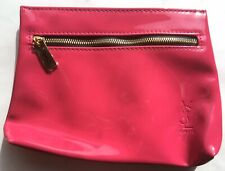 Ysl Yves Saint Laurent Beaute hot pink magenta makeup bag cosmetic clutch pouch