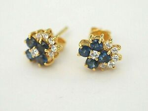 14K Yellow Gold Vintage Round Cut Natural Blue Sapphires & CZ Floral Earring