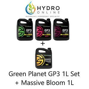 GREEN PLANET GP3 GROW BLOOM MICRO + MASSIVE BLOOM 1L SET | 4 X 1L - HYDROPONICS