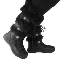 Ladies Mid Calf Boot Womens Lace Up Zip Fur Snow Warm Work Flat Heel Shoe Size