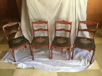 Antiques chairs-ELMIRA FURNITURE MAHOGANY ANTIQUE CHAIRS WITH NEEDLEPOINT SEATS