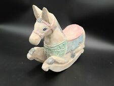 Vintage Hand Carved Wooden Rocking Horse Folk Art Pastel Pink Blue Green White