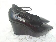 JIL SANDER Black Patent Leather Wedge Shoes .. EU 39 .. UK 6 .. worn once