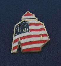 Del Mar Thoroughbred Club Horse Racetrack Jockey American Flag Hat Lapel Pin