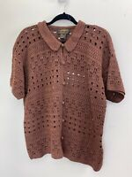 Eddie Bauer Brown Cardigan Cotton Crochet Knit Sweater Size Medium
