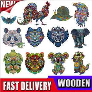 Wooden Jigsaw Puzzles Unique Animal Shape Adult Kid Child Toy Gift Home Decor UK