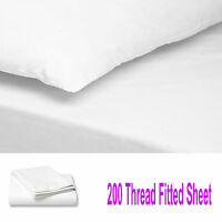 200 THREAD COUNT LUXURY 100% EGYPTIAN COTTON FITTED SHEET BED SINGLE DOUBLE KING
