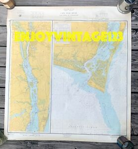 Vintage 1960s NORTH CAROLINA MAP Mercator CAPE FEAR RIVER to WILMINGTON 36x34