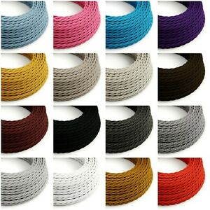 Twisted Braided Fabric Lighting Cable - Bulk Pricing Flex Cord - 3 Core Vintage