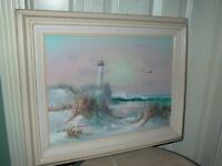 B Thompson Oil on Canvas Framed Painting Lighthouse Seascape Seagull Beach Scene