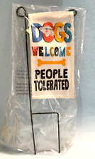 "Home Yard Decor- Mini Garden Flag Stake ""Dogs Welcome"" I 8"" X 4"" X 13"" New"