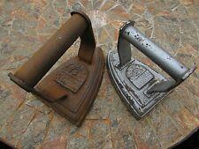 More details for 2 antique 'clark & co' flat/sad irons nos 6 & 4 -cast iron/iron handles -both ok