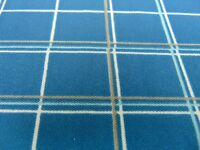 Polyester Vintage Fabric X Knit Check 2 Blue Double 60 Yard Print White 1950s