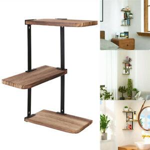 Solid Wood Wall Shelf 3-Tier DIY Storage Shelves Shelving Unit Adjustable Indust