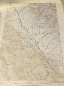 "Original 1938 Glacier National Park Map Kintla Lakes, Montana 21""x17"""