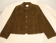 Christopher & Banks Size L Button Front Brown Pin Wale Corduroy, long sleeves