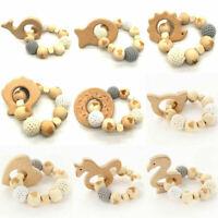 Wooden Animal Teether Crochet Beads Bracelet Rattle Toys Baby Chew Teething Toy
