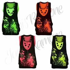 Womens Neon Splash Print Glitter Top Ladies Twin Vest Necklace Sleeveless Top