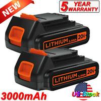 2 Pack 3.0Ah 20V LBXR20 Battery for BLACK+DECKER LBXR20-OPE LB20 LBX20 Cordless