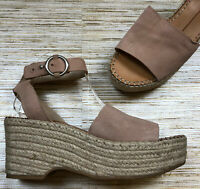 GG-60 Dolce Vita suede espadrille jute wedge sandal heels BLUSH size 8 uec
