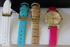 NWT GUESS Women's U0784L2 Feminine Interchangeable Leather Wardrobe Watch Set