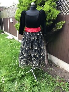 Vintage 80's Beautiful Midi Dress Helen Sykes Fabulous Fits 12 UK