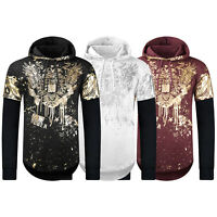 NEW Men Hooded Long Sleeve Sweater Gold Paint Splatter Eagle Print Hoody S-2XL