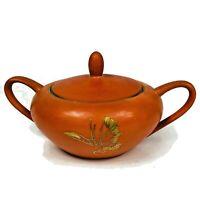 Dorothy Thorpe California Persimmon Orange Gold Sugar Bowl & Lid Vintage 1960s