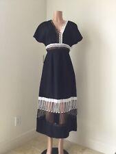 Christopher Kane Cable Embellished Black Deep V-neck Mid-Calf Length Dress Sz 44