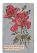 Red Roses, Lord Byron Poem, Antique 1910 Greetings Postcard