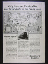 1928 Southern Pacific Railroad 4 Routes to Pacific Coast us map vintage print Ad