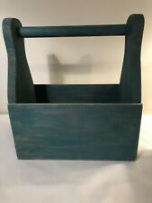 Primitive Wood Tool Box Caddy Tote Green Hand Painted Country Farmhouse