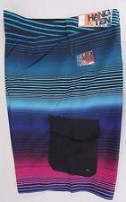 HANG TEN Men's Super Stripe Cargo Board Shorts Swim Swimsuit Black Blue 38 NEW