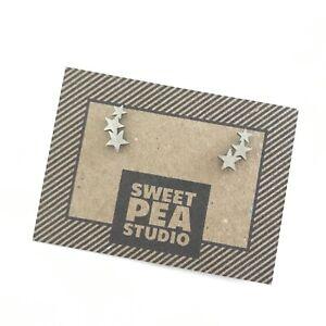 Triple Star Stainless Steel Silver Earclimber Stud Earrings - Earring Jewellery