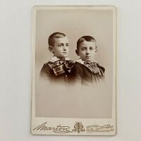 Antique Cabinet Card Photograph Child Little Boys Brothers Twins? Bloomington IL
