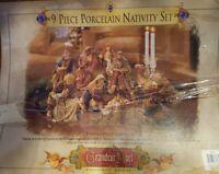 Rare Grandeur Noel 9 Piece Porcelain Nativity Set Collector Edition 1999