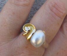 $ 5,620 Designer South Sea Pearl Diamond 18k Yellow Gold Ring.
