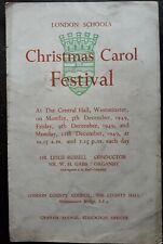 Vintage 1949 LONDON SCHOOLS CHRISTMAS FESTIVAL Programme, WESTMINSTER, Ephemera