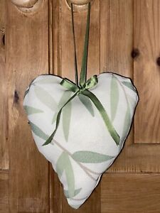 'LAURA ASHLEY' Green Willow Leaf and Farnworth Stripe Fabric Hanging Heart