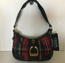 NEW! CHAPS RALPH LAUREN HIGHBURY RED PLAID HOBO PURSE SHOULDER BAG $59 SALE