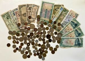 Huge Lot of 140+ Old, Rare Foreign Coins & Bills (issued 1880–2004)