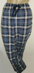 "Next Men's Blue Check Fleece Pyjama Bottoms Size Large Inside Leg 31"" New"