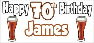 Personalised Pint of Ale 70th Birthday Banner x 2 Party Decorations ANY NAME
